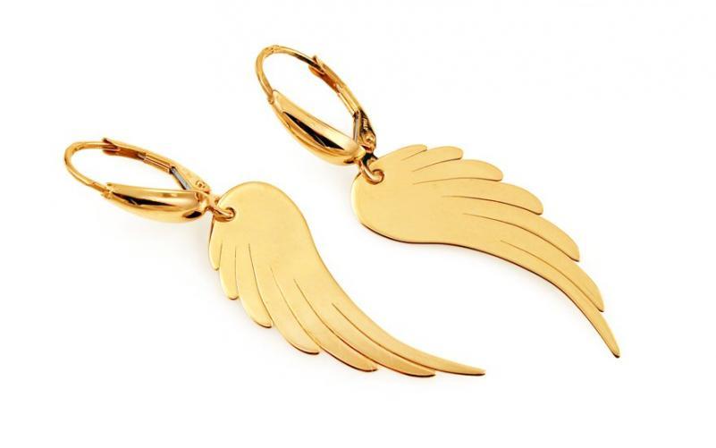 Zlaté náušnice s andělskými křídly IZ9094N 0a5b8498c6f