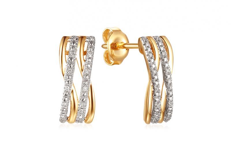 Zlaté náušnice s diamanty 0 34c0726ef49