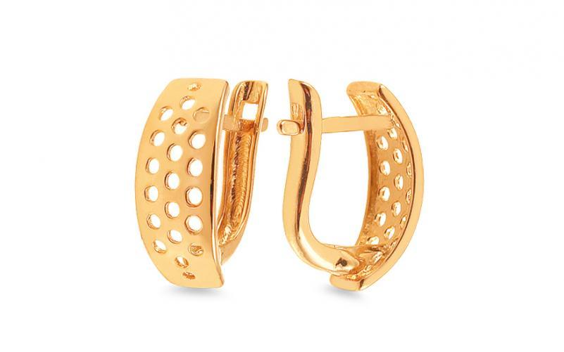 Zlaté náušnice s vyřezávaným vzorem IZ13989