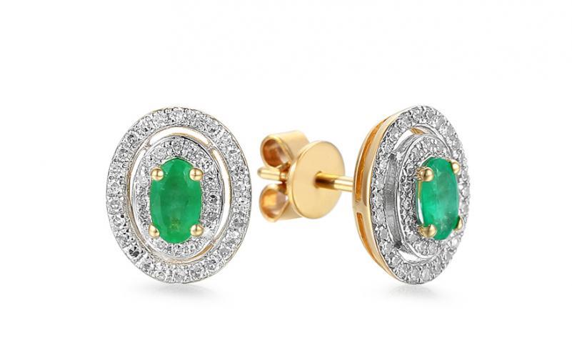Zlaté náušnice se smaragdů a diamanty 0.240 ct Christel IZBR561SN