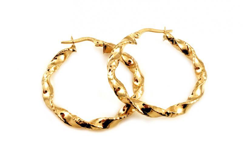 Zlaté náušnice točené kruhy s gravírováním 3 cm IZ10202 00210349d14