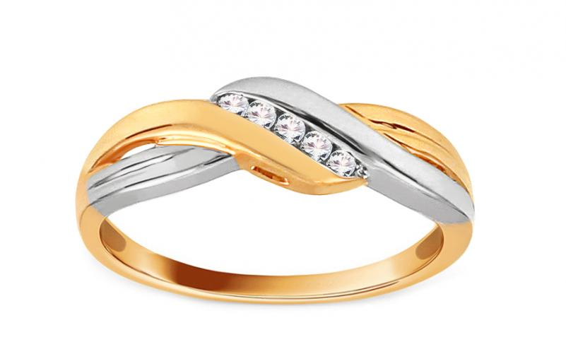 Zlatý dvoubarevný prsten s diamanty 0,060 ct Eadlin ROYBR054