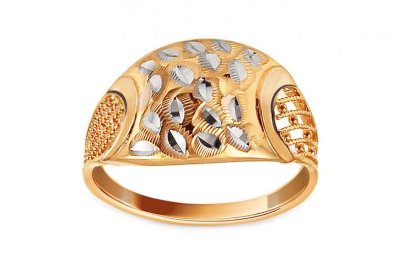 Zlatý dvoubarevný prsten s gravírem Kenwyn IZ12911