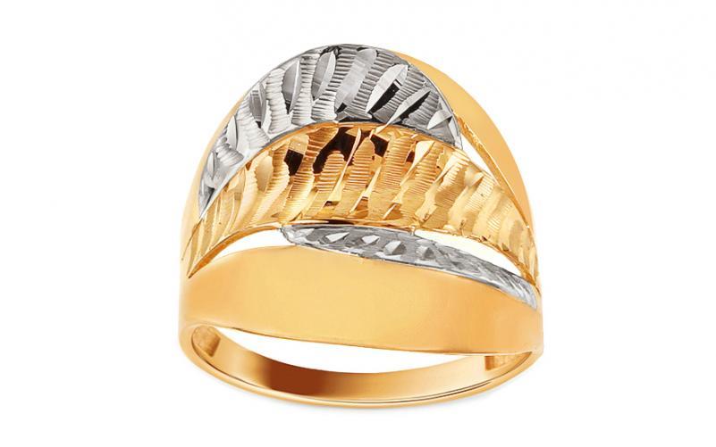 Zlatý dvoubarevný prsten s gravírováním Lucianna IZ12942