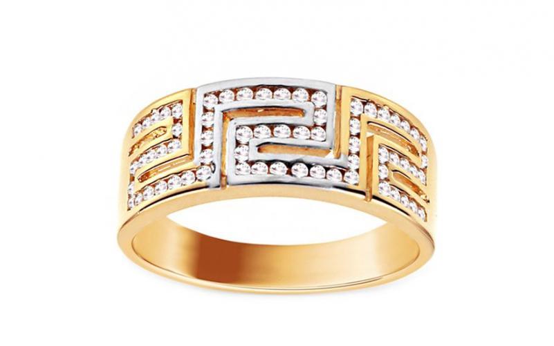 Zlatý dvoubarevný prsten se zirkony IZ11160