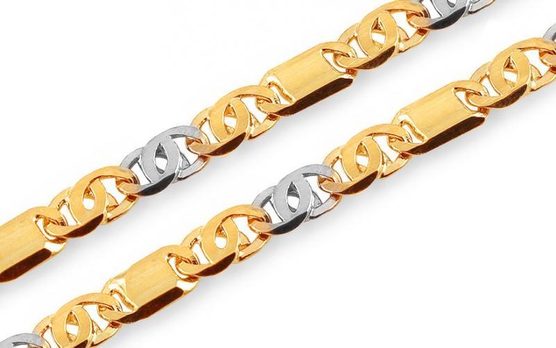Zlatý dvoubarevný řetízek Snail s destičkami 4 mm IZ12604