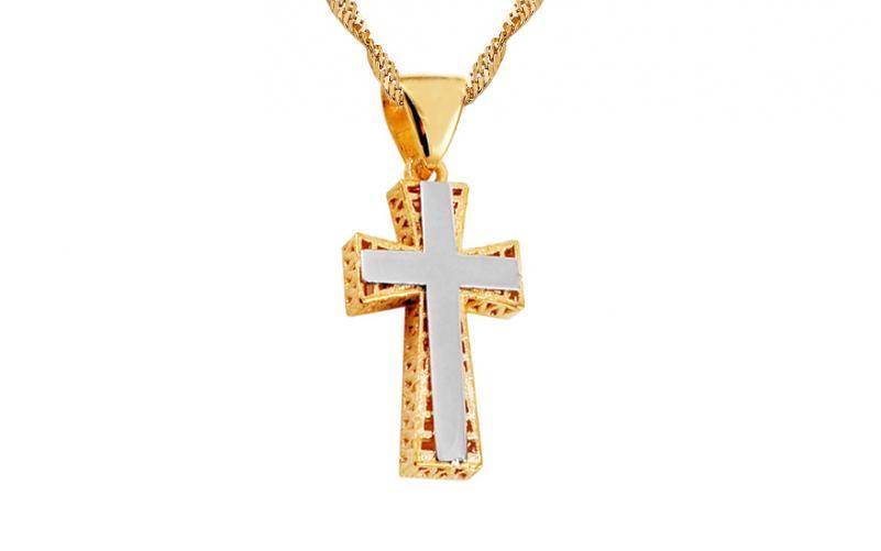 Zlatý kombinovaný přívěsek křížek s ozdobným výpletem IZ11230
