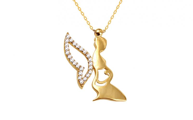 Zlatý náhrdelník Fairy se zirkony IZ10591