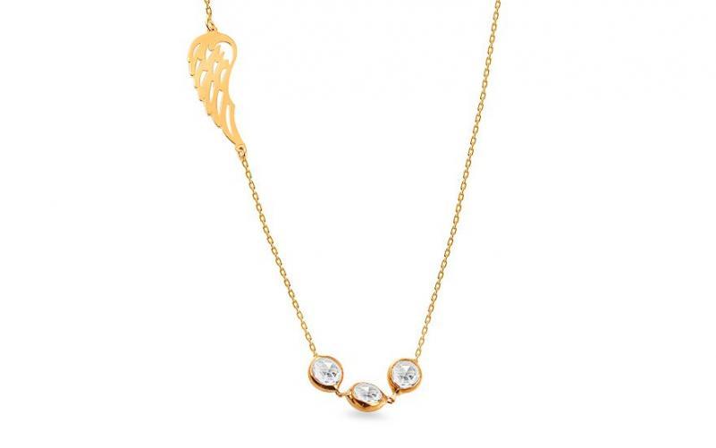 Zlatý náhrdelník s andělským křídlem a zirkony IZ14103