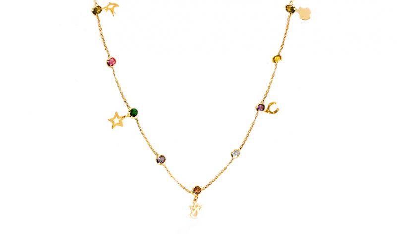 Zlatý náhrdelník s drahokamy Daria 1 IZ6387 1c265056682