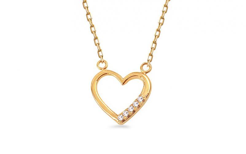 Zlatý náhrdelník se srdíčkem a zirkony IZ12360