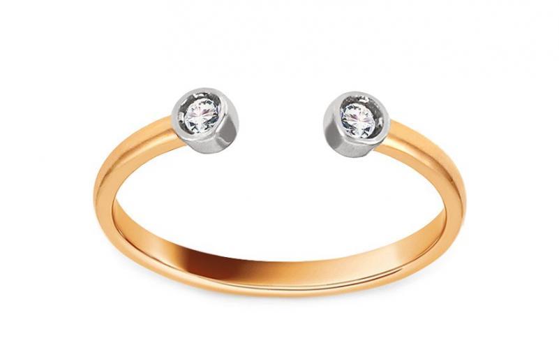 Zlatý otevřený prsten se zirkony Maybelle IZ13310