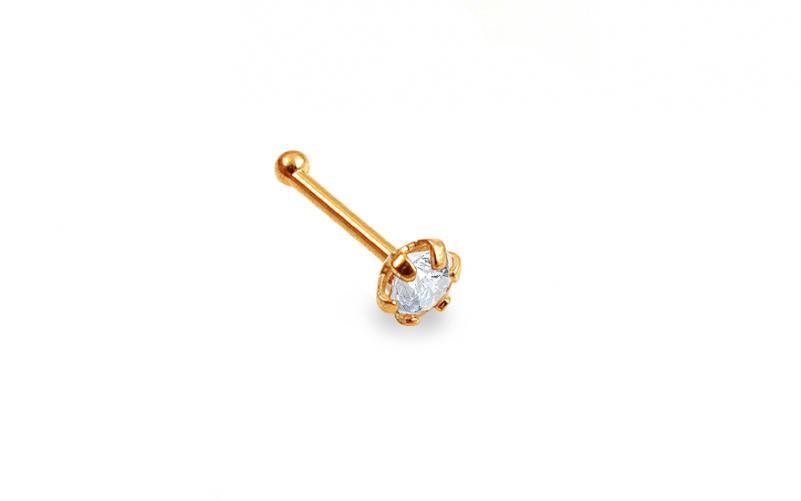 Zlatý piercing do nosu 3 mm se zirkonem rovný IZ13453
