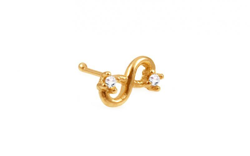 Zlatý piercing do nosu nekonečno rovný IZ10171