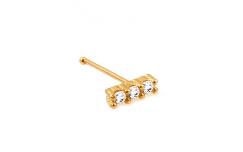 Zlatý piercing do nosu zirkonové trio rovný IZ10173