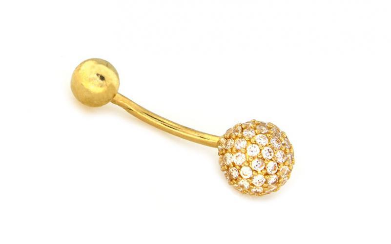 Zlatý piercing se zirkony IZ9056