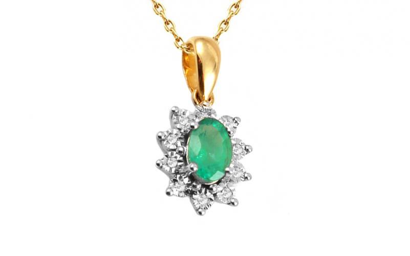 Zlatý přívěsek se smaragdem a diamanty Clarisse IZBR181SP