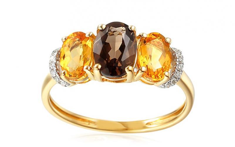 Zlatý prsten s citrínem, kouřovým kvarcitem a diamanty 0,040 ct Duane IZBR421
