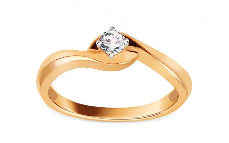 Zlatý zásnubní prsten s diamantem 0,130 ct Jaelyn KU392