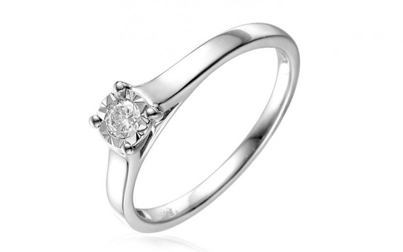 Zlatý zásnubní prsten s diamantem Sanie 1 white IZBR050AP