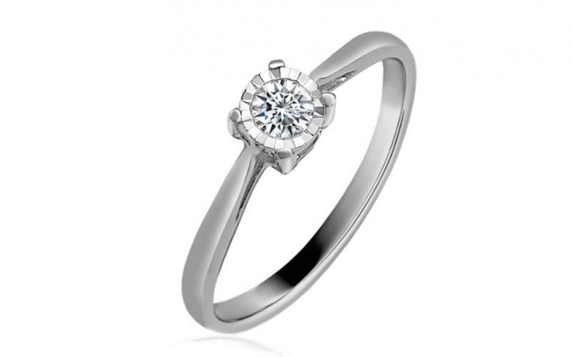 Zlatý zásnubní prsten s diamantem Vienna white KU492A