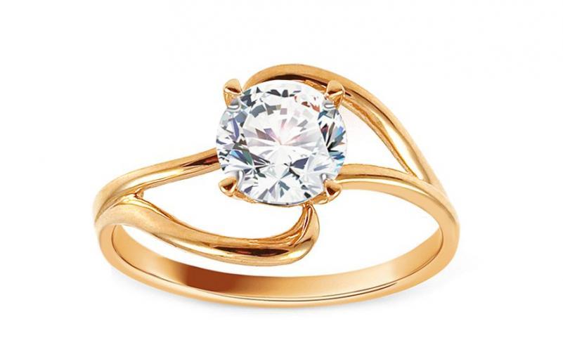 Zlatý zásnubní prsten se zirkonem Anerae IZ13004