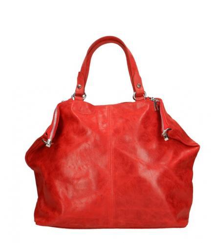 Kožená červená bordó velká taška na rameno neli