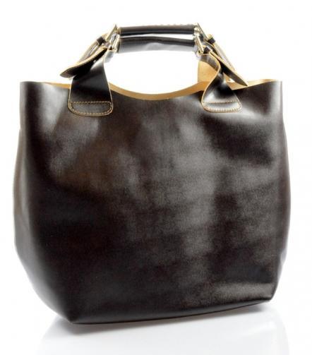 Kožená tmavě hnědá kabelka do ruky 2v1 sandi