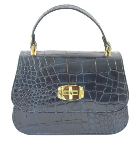 Kožená luxusní menší modrá crossbody kabelka do ruky Zoe
