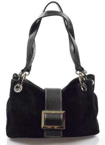 Kožená menší černá taška na rameno lil