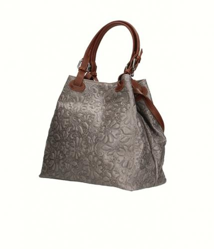 Kožená šedá kabelka na rameno madeleine two