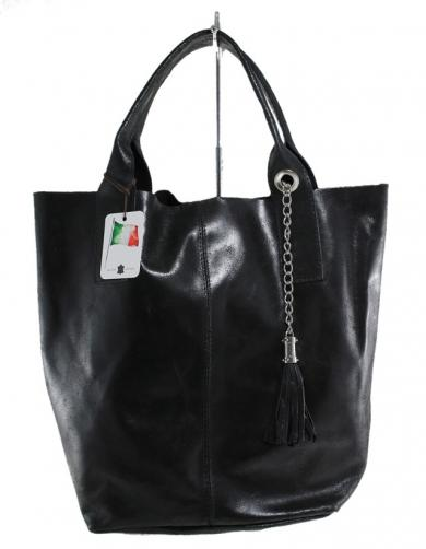 Kožená černá taška na rameno melani