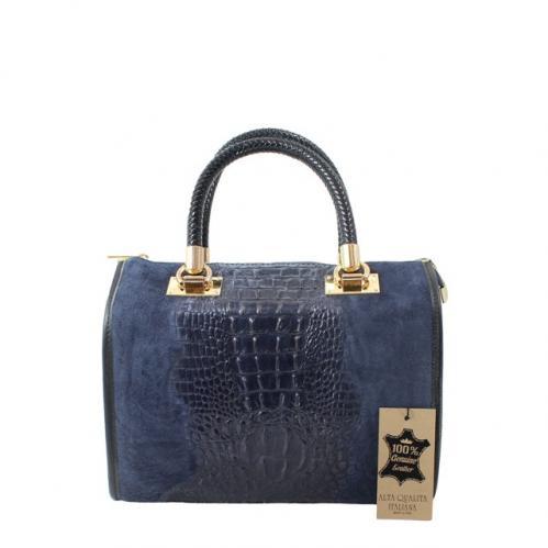 Kožená krokodýlí modrá kabelka do ruky christele