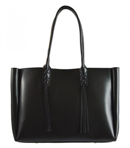 Kožená větší černá kabelka na rameno 2v1 Zara
