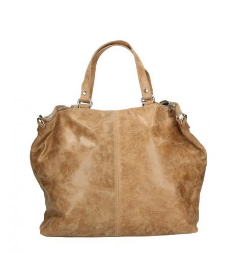 Kožená béžová velká taška na rameno neli