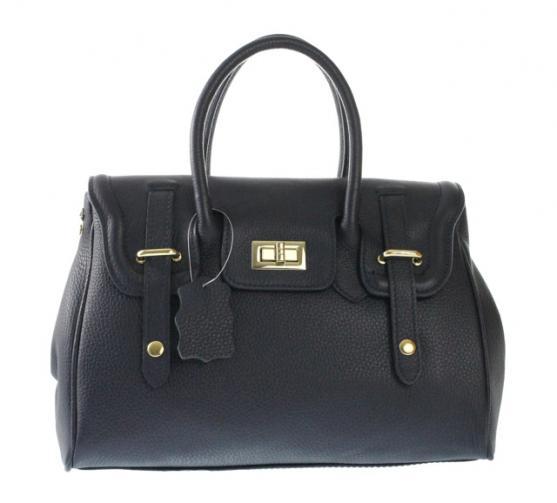 Kožená luxusní černá kabelka do ruky Francis
