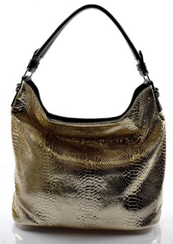 moderní lesklá zlatá kabelka na rameno star two