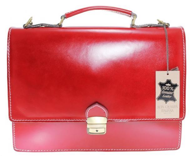 pánská červená bordó kožená aktovka Tommy