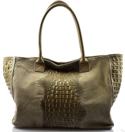 Kožená velká krokodýlí béžová taška na rameno jeana