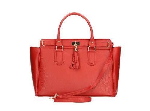 Kožená luxusní červená kabelka do ruky montana