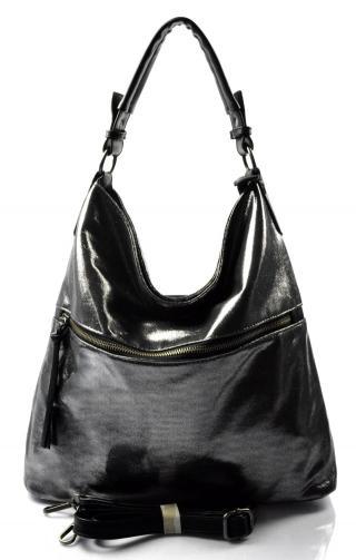 moderní lesklá černá s šedou kabelka na rameno guliana
