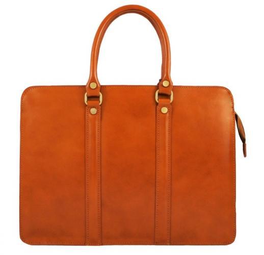 Kožená luxusní koňakově hnědá kabelka do ruky ester