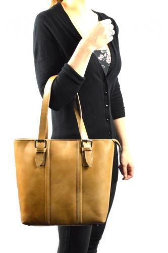 Kožená béžová kabelka přes rameno belangi