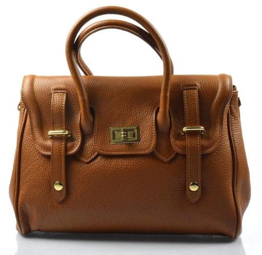 Kožená luxusní hnědá kabelka do ruky Francis