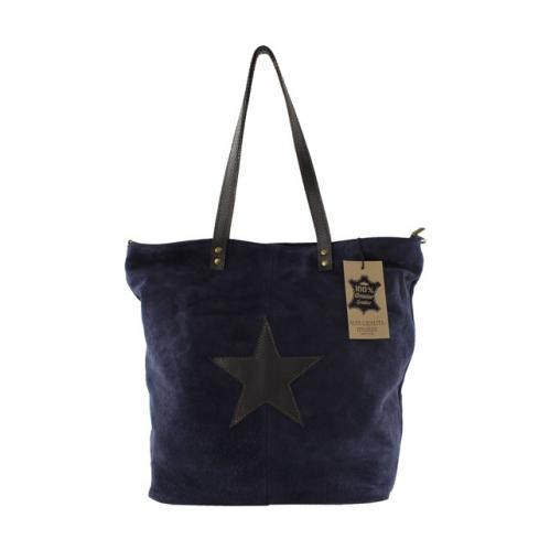 Kožená modrá taška na rameno melisa