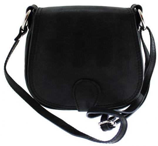 kožená menší černá crossbody kabelka na rameno Lundy