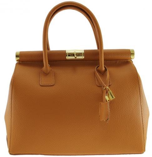Kožená luxusní hnědá kabelka Aliste