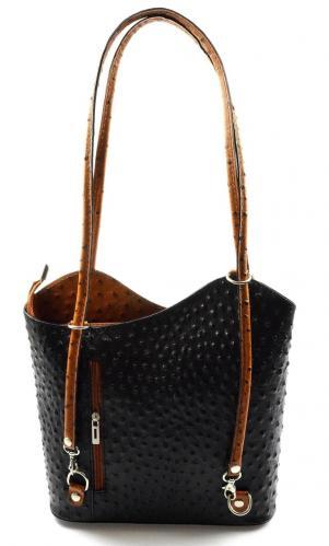 Kožená luxusní menší černá s hnědou crossbody Royal