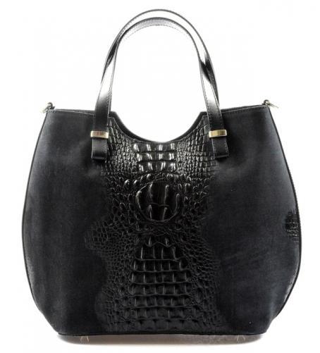 Kožená černá krokodýlí kabelka do ruky agata