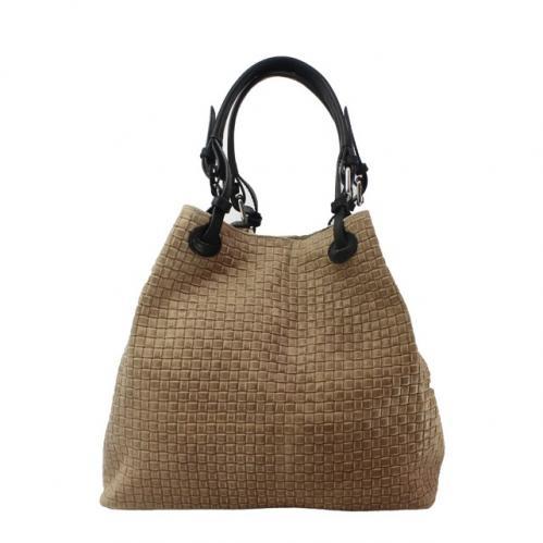 Kožená béžová kabelka na rameno madeleine